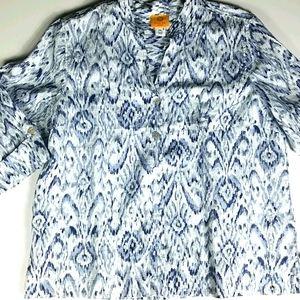 Ruby Red, 0013 ,blu/wht button down blouse, Sz PXL